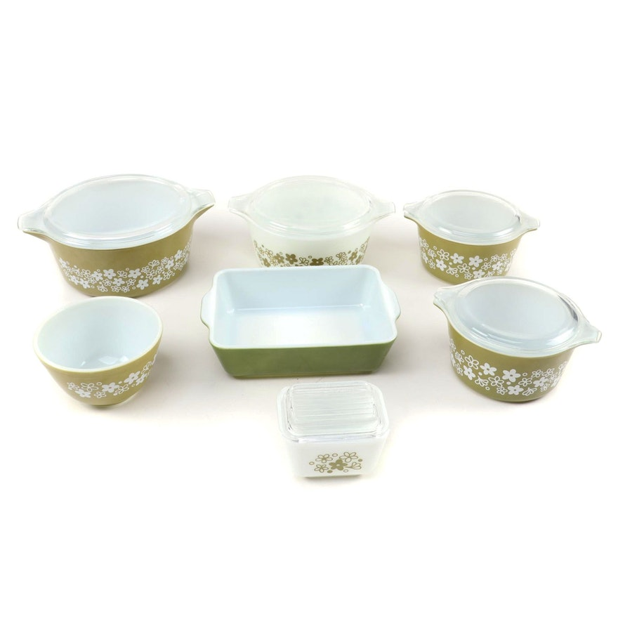 """Pyrex """"Spring Blossom"""" and Solid Green Casseroles and Mixing Bowls, 1972–1979"""
