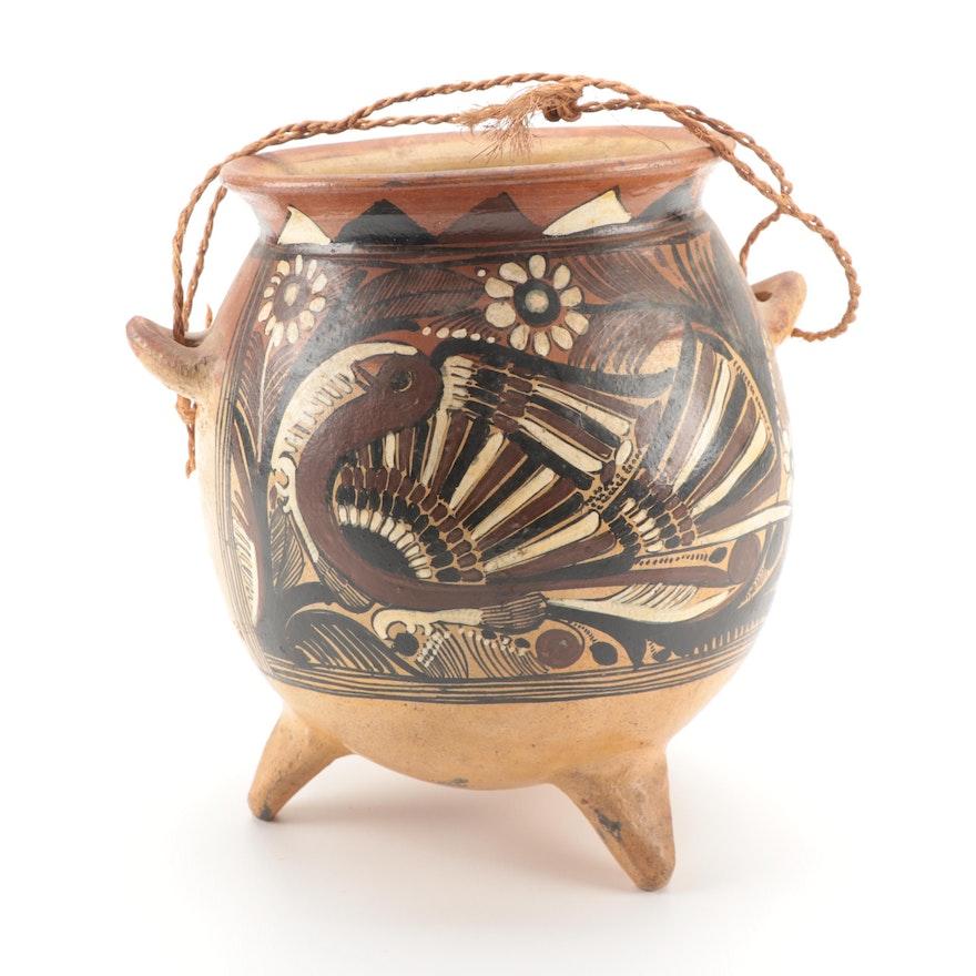 Mexican Handmade Three Legged Pottery Jug