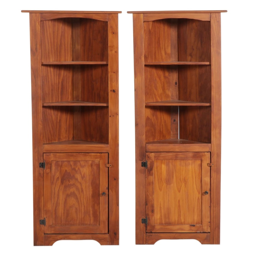 Pair of American Primitive Style Pine Corner Cabinets