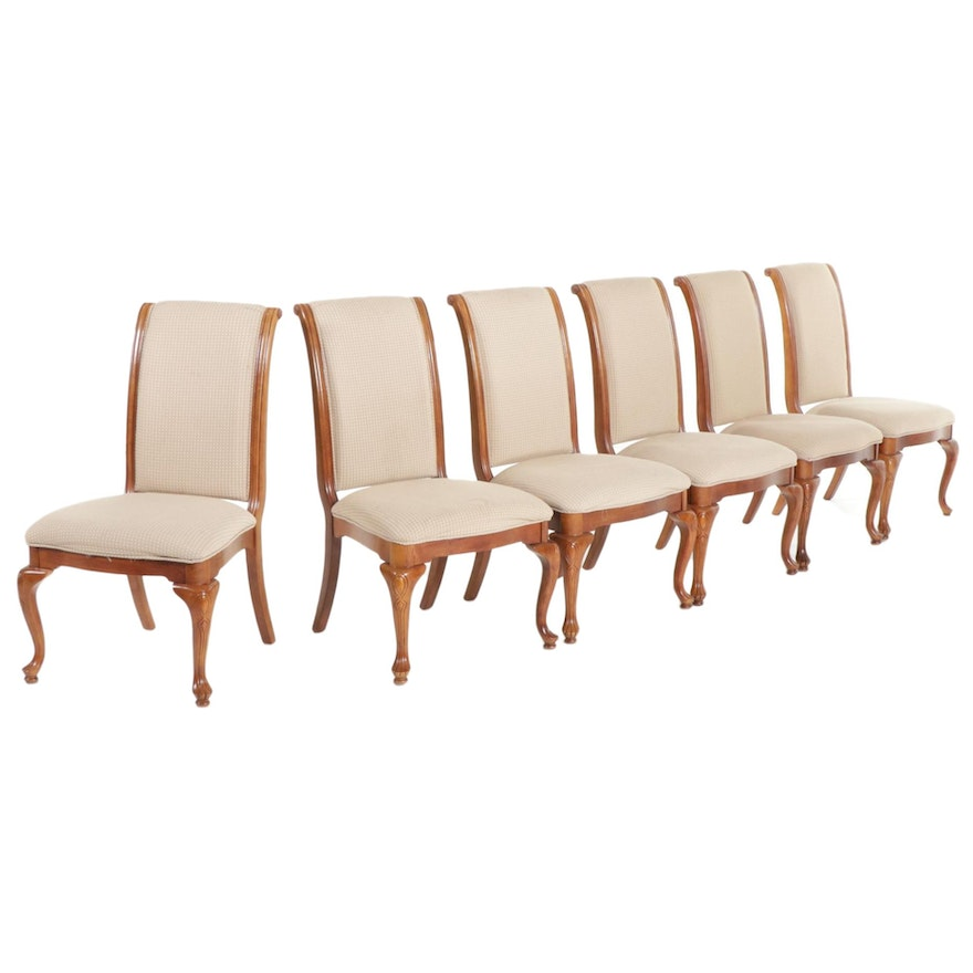 Six Charles X Style Upholstered Wood Dining Chairs, Late 20th Century