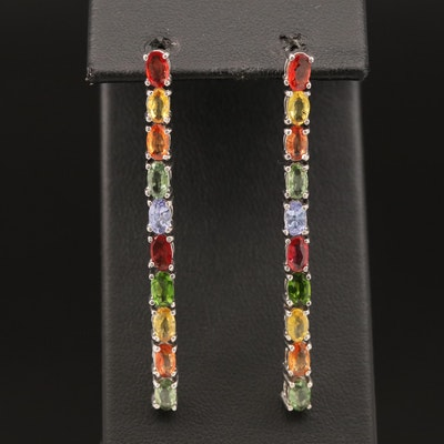 Sterling Sapphire, Tanzanite and Diopside Earrings