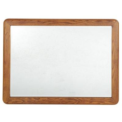 Rectangular Oak-Framed Beveled Wall Mirror, Late 20th Century