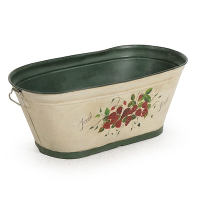 "Shabby Farmhouse Hand-Painted ""Fresh Fruit"" Galvanized Metal Wash Tub"