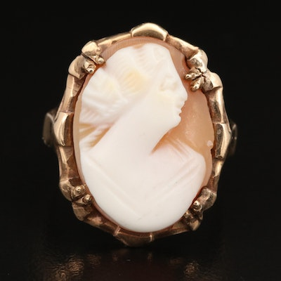 Vintage Samsan Co. 10K Shell Cameo Ring