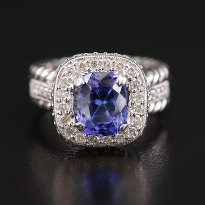 14K 1.82 CT Tanzanite and Diamond Halo Ring with Rope and Milgrain Detail