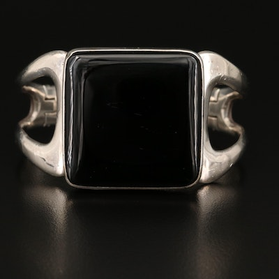 Alberto Hinged Mexican Sterling and Obsidian Bracelet