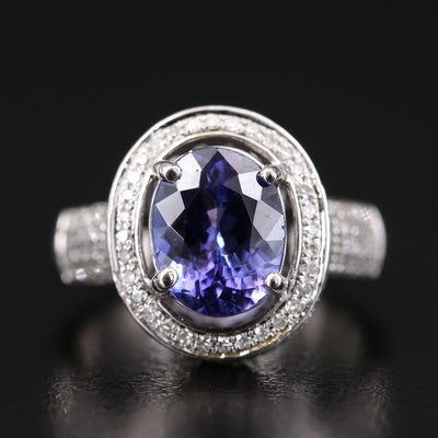 14K 2.72 CT Tanzanite and 1.05 CTW Diamond Halo Ring