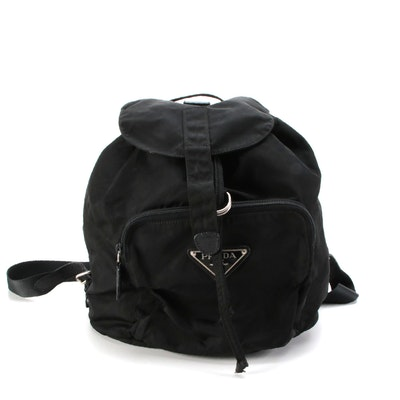 Prada Backpack Purse in Black Tessuto Nylon with Saffiano Leather Trim