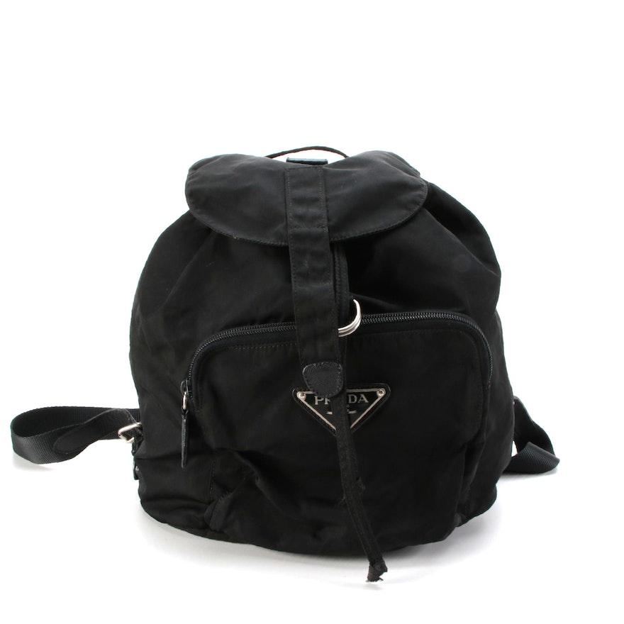 Prada Backpack Purse in Black Tessuto Nylon with Saffiano Leather Trim