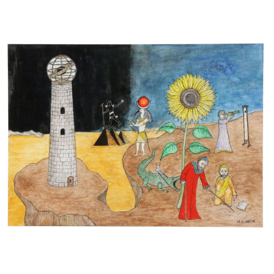 M. K. Larson Surrealist Landscape Acrylic Painting of Tower and Sunflower,