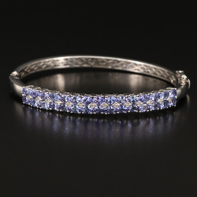Sterling Silver Tanzanite and Diamond Hinged Bangle