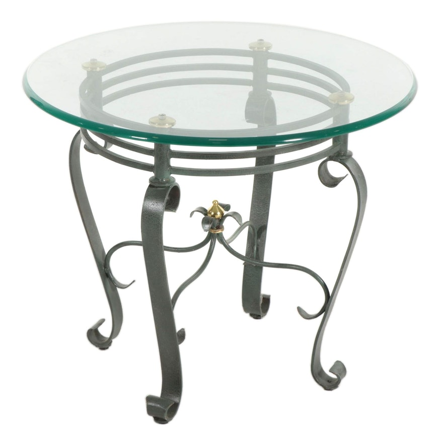 Scrolled Metal and Glass-Top End Table