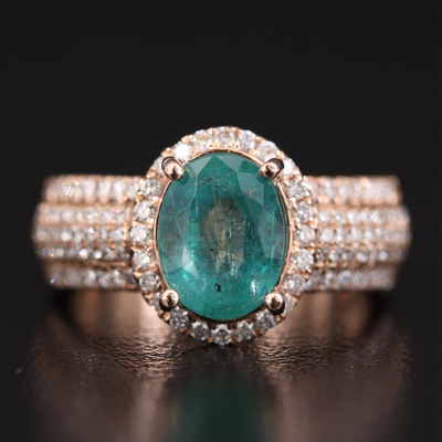 14K Rose Gold 2.50 CT Emerald and Diamond Halo Ring