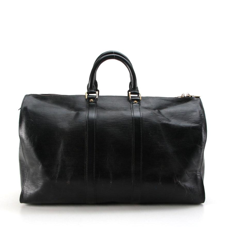 Louis Vuitton Keepall 45 in Black Epi Leather
