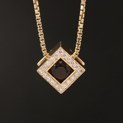 14K Smoky Quartz and Diamond Cube Pendant Necklace