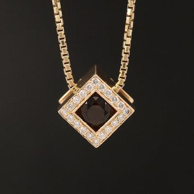 14K Smoky Quartz and Diamond Cube Pendant Necklace