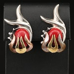 Mexican 950 Silver Faux Jasper Clip Earrings with Flame Details