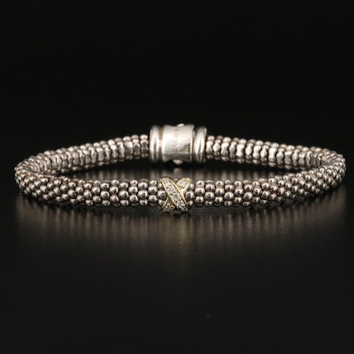Caviar by Lagos Sterling Diamond Bracelet with 18K Accent