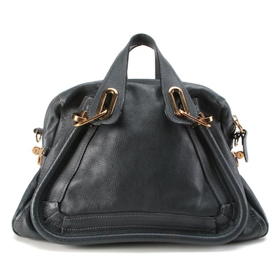 Chloé Paraty Pebbled Leather Satchel in Dark Navy/Midnight