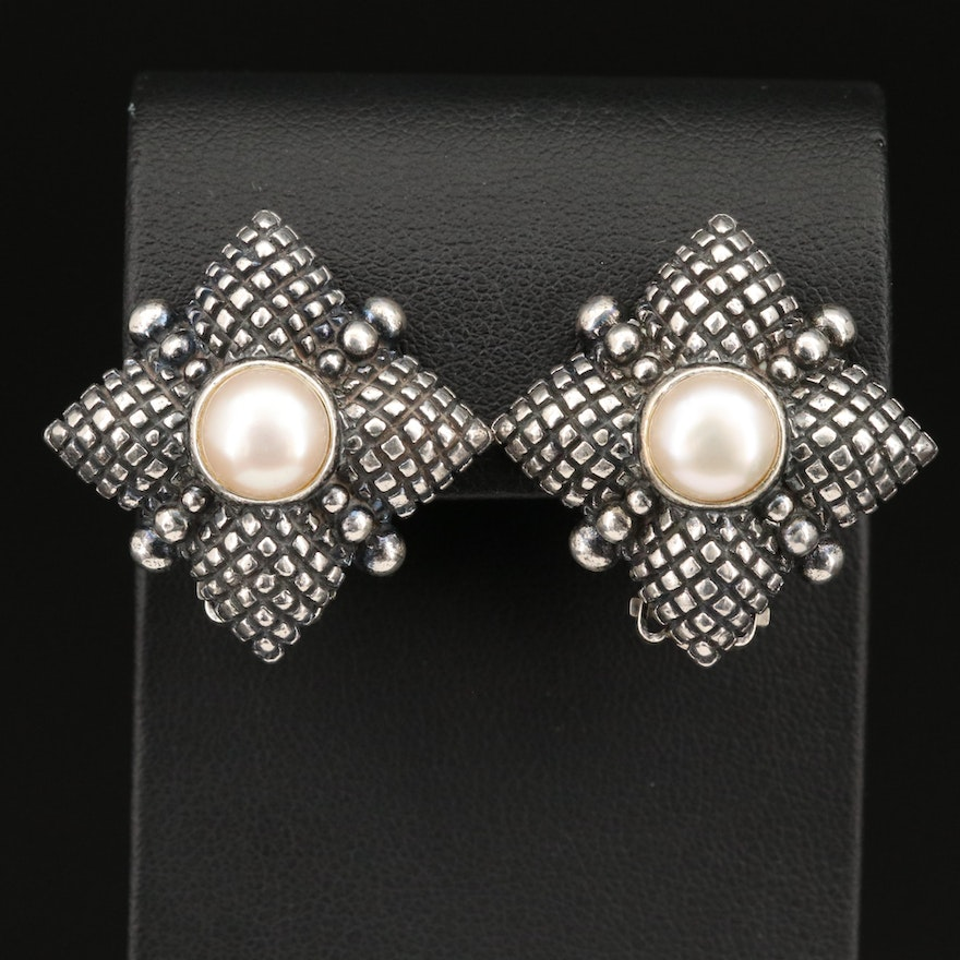 Stephen Dweck Sterling Silver and Pearl Clip Earrings