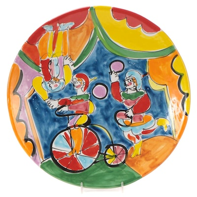 Italian Saks Fifth Avenue Hand-Painted Ceramic Platter with Circus Scene
