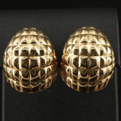 14K Domed Clip Earrings
