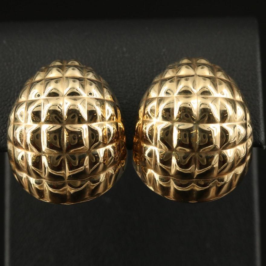14K Domed Clip Earrings