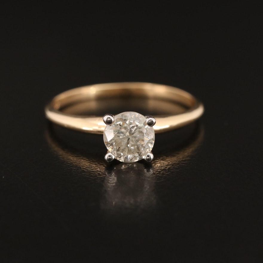 14K 0.90 CT Diamond Solitaire Ring