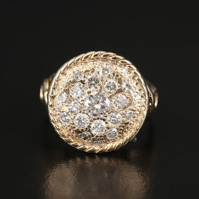 14K Diamond Disk Ring with Rope Detail