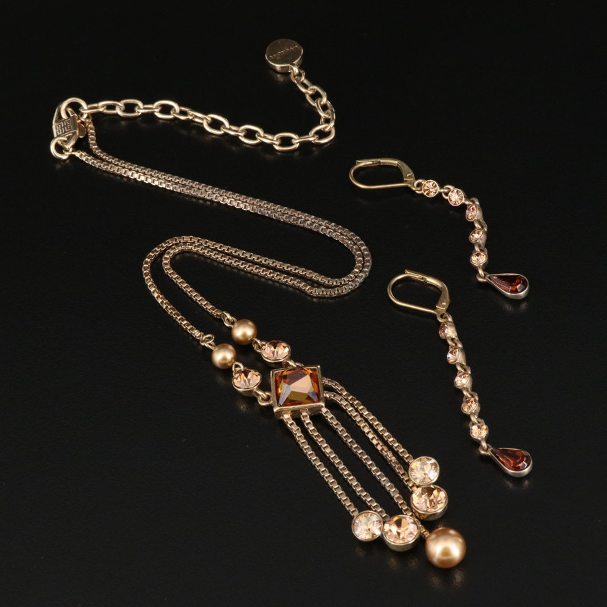 Givenchy Rhinestone and Faux Pearl Necklace and Earrings