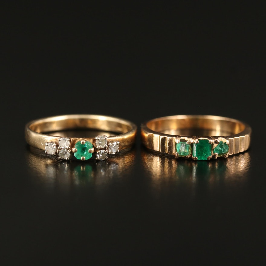 14K Emerald and Diamond Rings