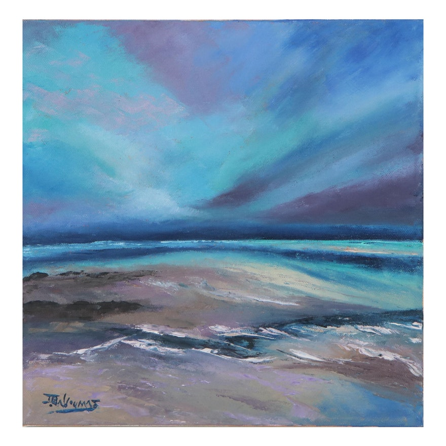 "James Baldoumas Oil Painting ""Seascape,"" 2021"