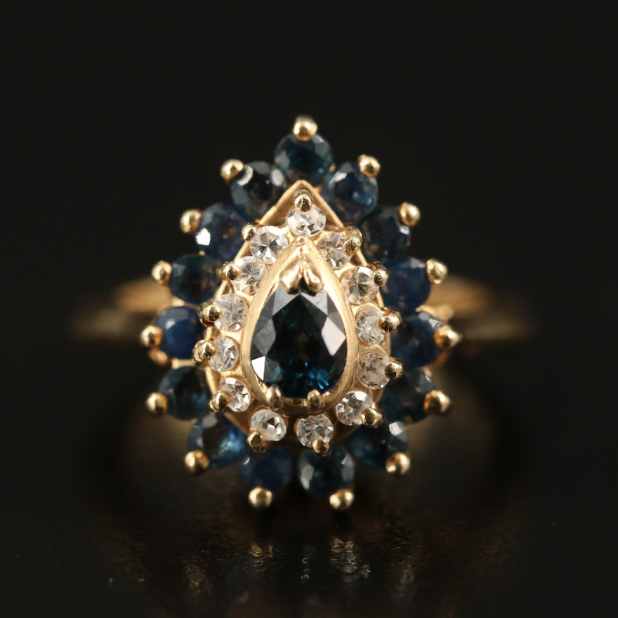 14K Sapphire and Diamond Teardrop Ring with Knife Edge Detailing