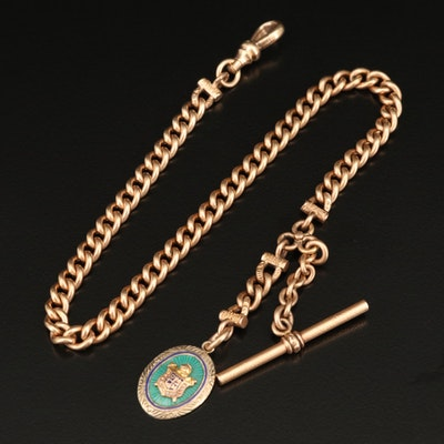 Vintage 10K Enamel and Pearl Masonic Fob on Gold Filled Watch Chain