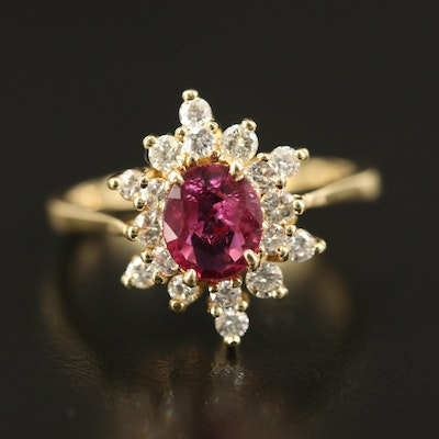 18K 1.12 CT Ruby and Diamond Starburst Ring