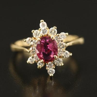 18K 1.12 CT Ruby and Diamond Starburst Ring