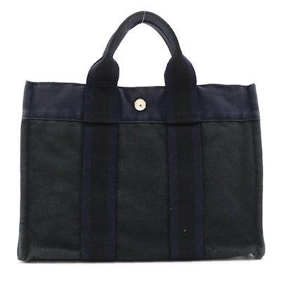 Hermès Fourre Tout PM Tote in Navy and Black Cotton Canvas