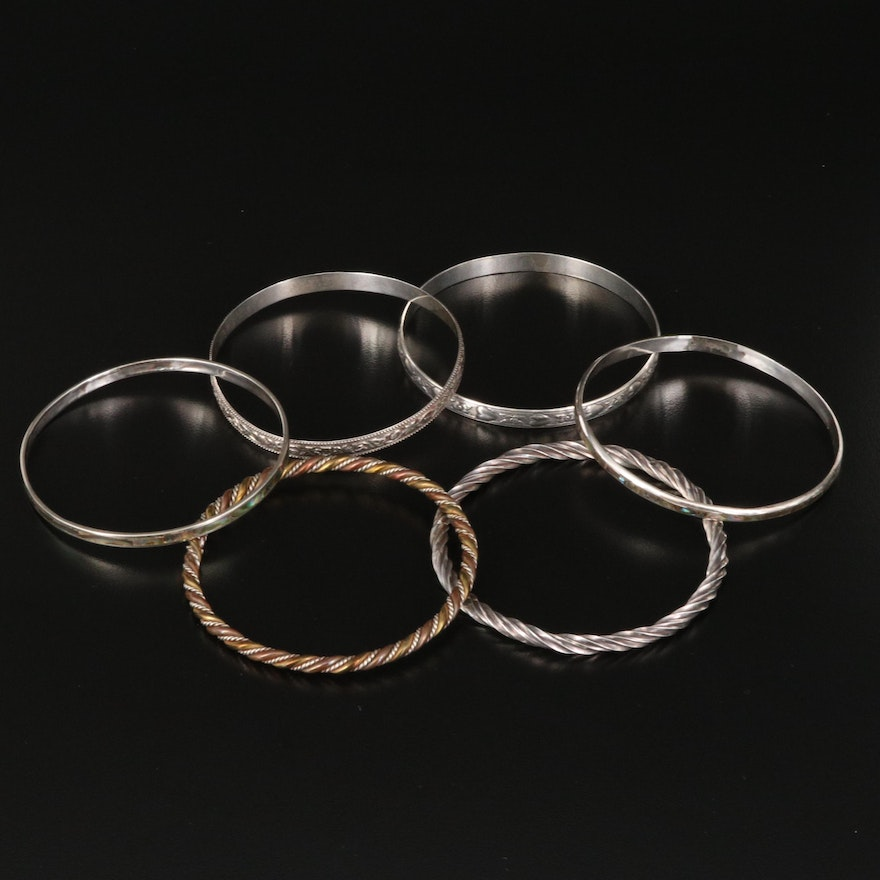 Bangles Featuring Sterling, Vintage Danecraft Patterned Bangle and Abalone