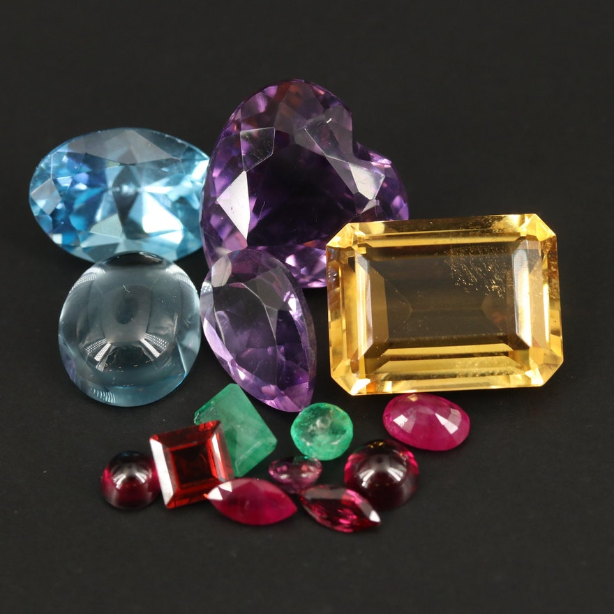 Loose 44.91 CTW Mixed Gemstones Including Citrine, Amethyst and Topaz