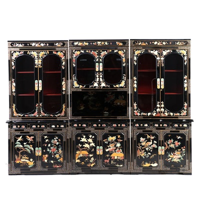Korean Stone, Resin and Mother-of-Pearl Inlaid Lacquered Wood 3-Piece Cabinet
