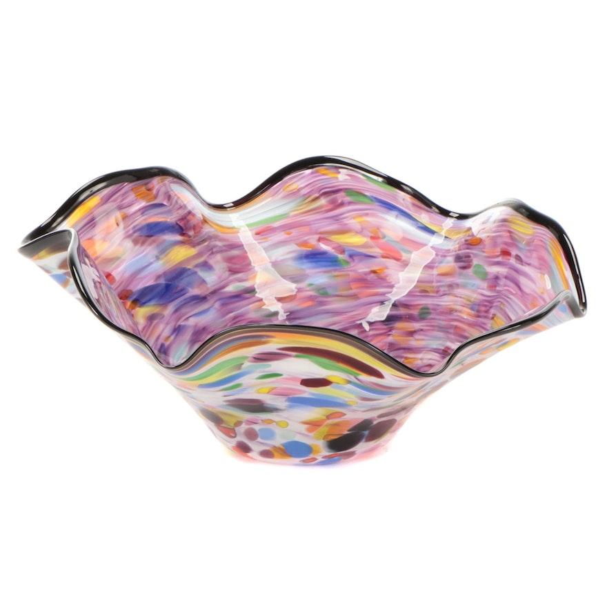 Murano Style Handblown Multicolor Art Glass Bowl