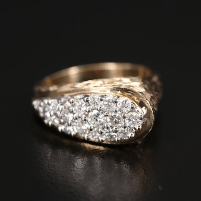 14K Diamond Textured Ring