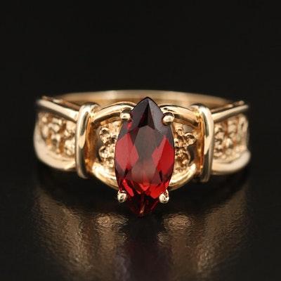 14K Garnet Ring with Nugget Detail