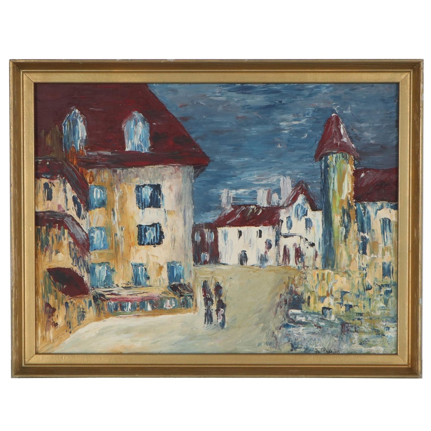 A. Perkins Abstract Cityscape Oil Painting of Village, Mid-Late 20th Century