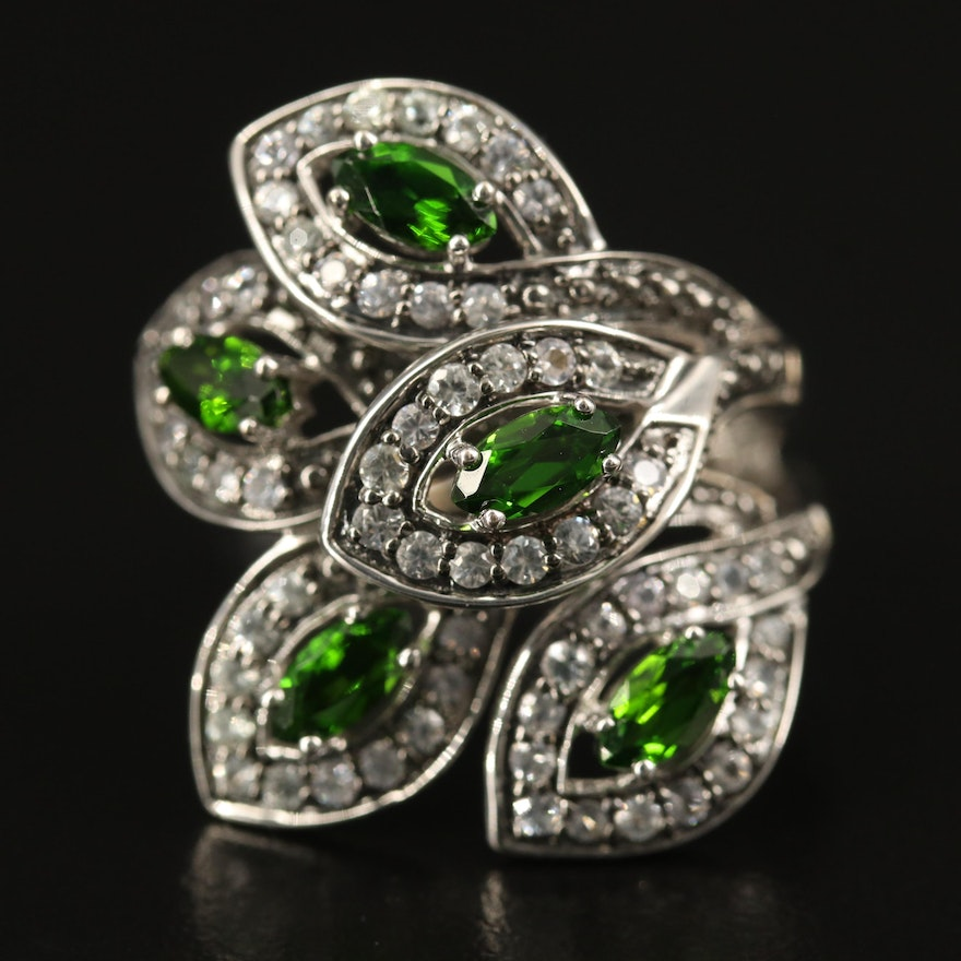 9K Diopside and Cubic Zirconia Foliate Wrap Ring