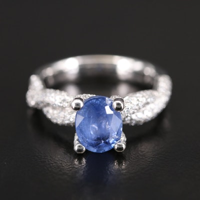 14K 2.14 CT Sapphire and Diamond Twist Shank Ring