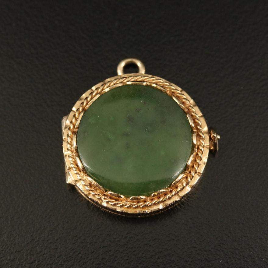 Vintage 14K Nephrite Locket Pendant