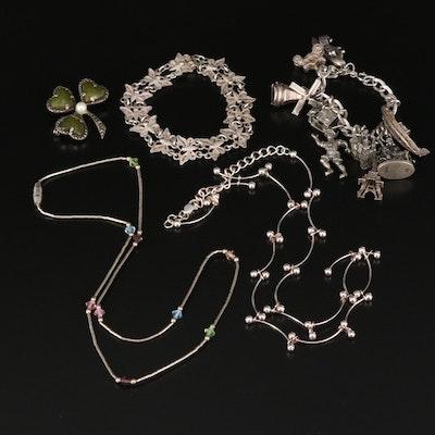 Sterling Jewelry Featuring Vintage Irish Gemstone Clover Brooch