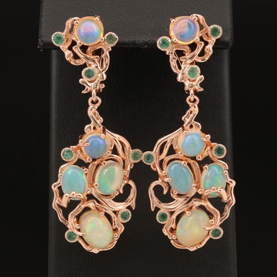 Sterling Opal and Beryl Earrings