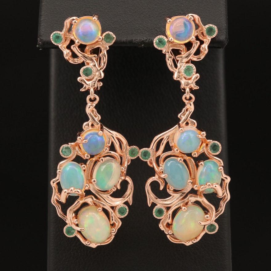 Sterling Opal and Beryl Earrings